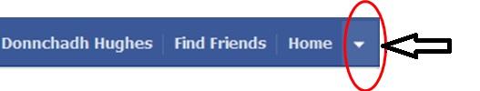Facebook account dropdown