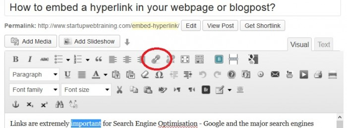 Hyperlink WordPress
