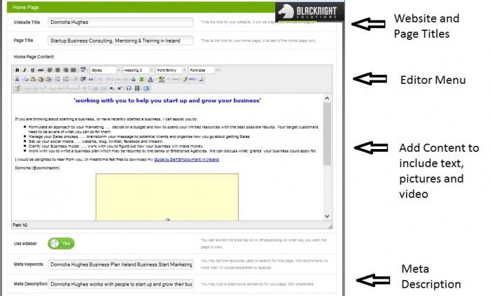 Blacknight Sitebuilder tool