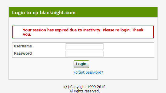 Blacknight login