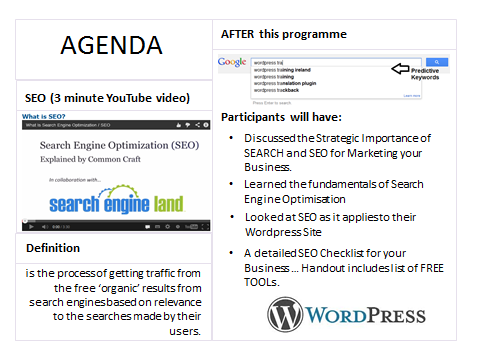 one Day SEO Workshop Agenda delivered by Donncha Hughes