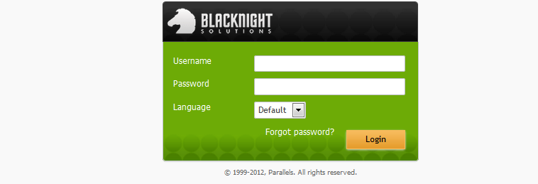 Blacknight login screen