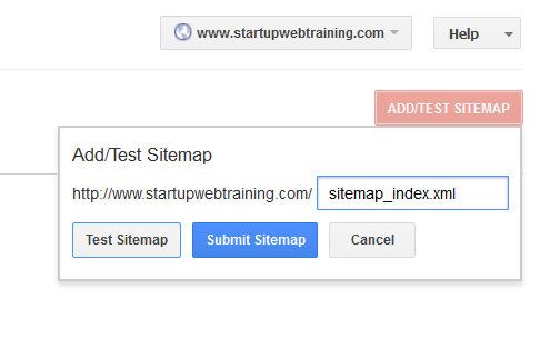 Google Webmaster tools add Sitemap