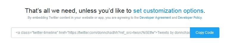 Twitter Publish Code