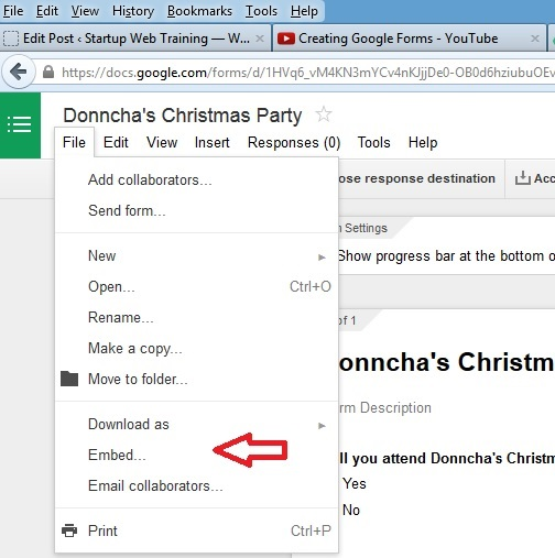 How to embed a Google Form in your website? - Startup Web Training