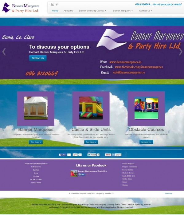 Banner Marquees Homepage Screenshot