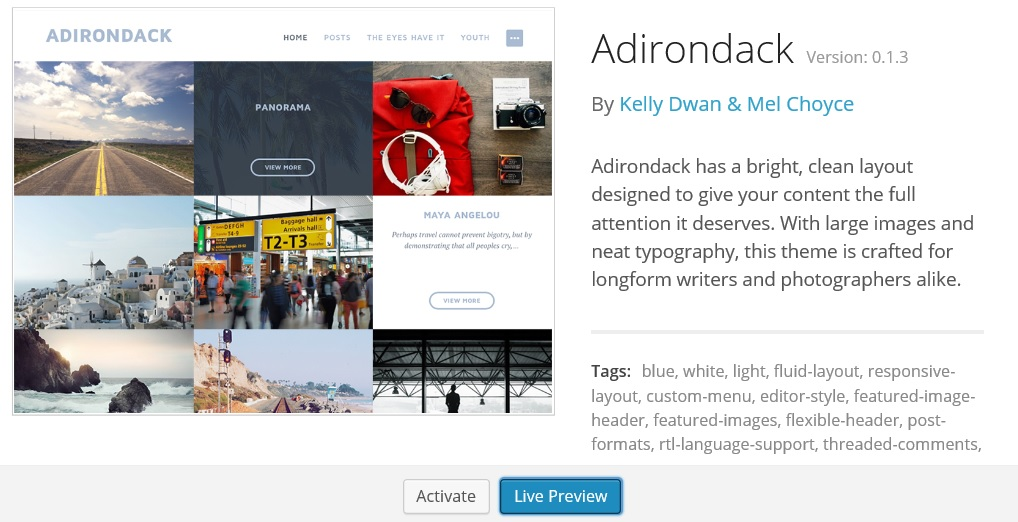 Adirondack theme for WordPress