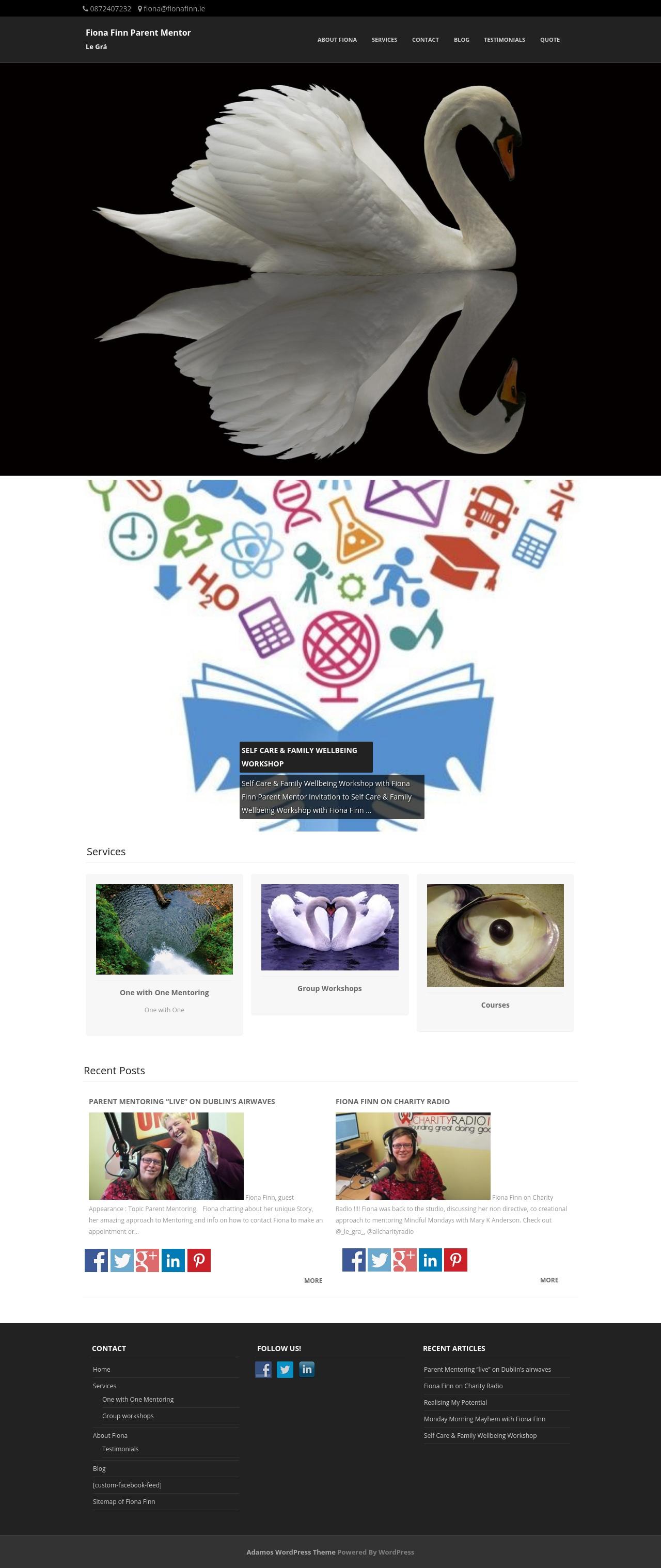 Screengrab of fionafinn.ie