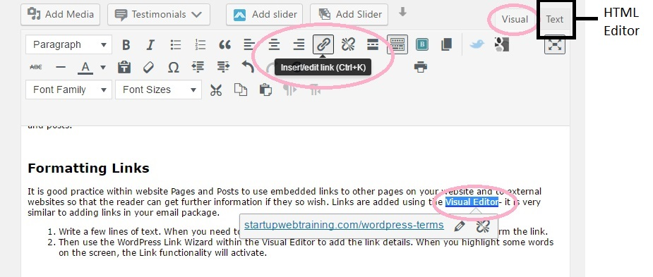 To insert embed link in WordPress