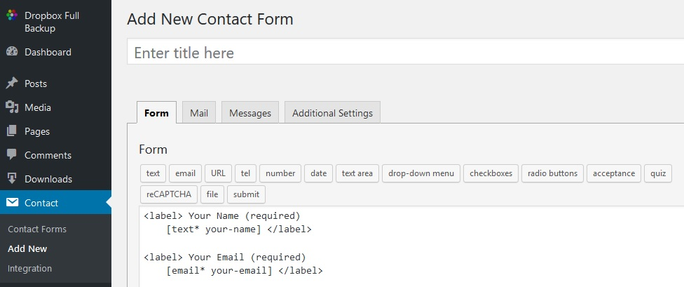 Contact Form 7 New Options Settings