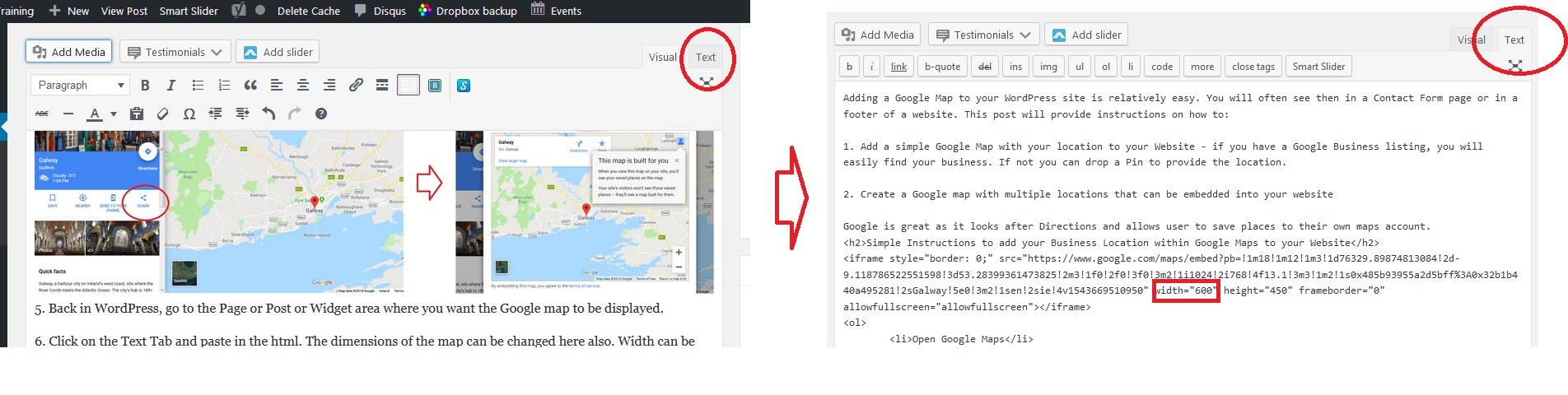 WordPress Text Tab within Visual Editor to paste Embed Code