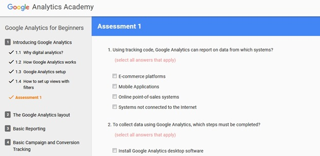 Google Analytics for Beginners Assessment Example