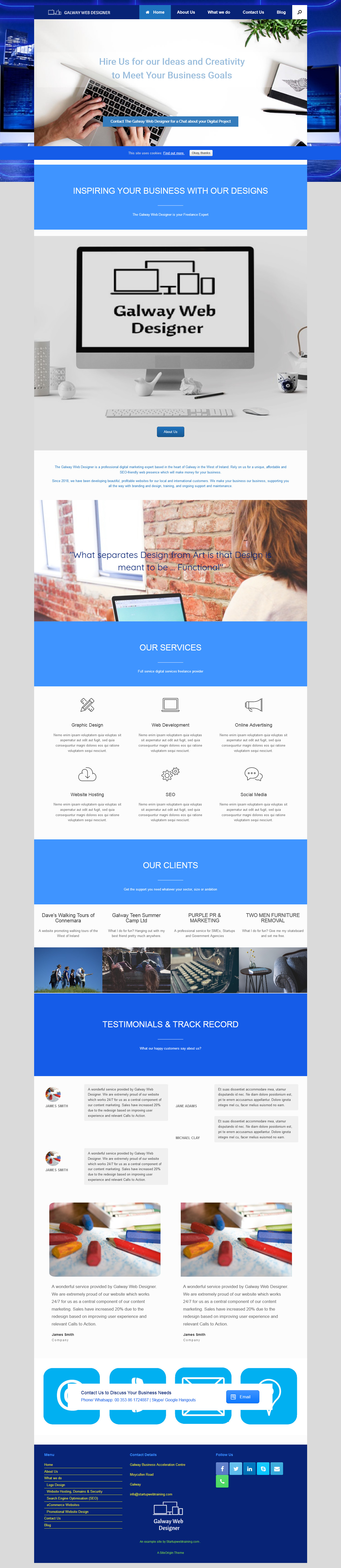 Vantage Theme with Site Origins Page Builder - An example Site with  Instructions - Startup Web Training