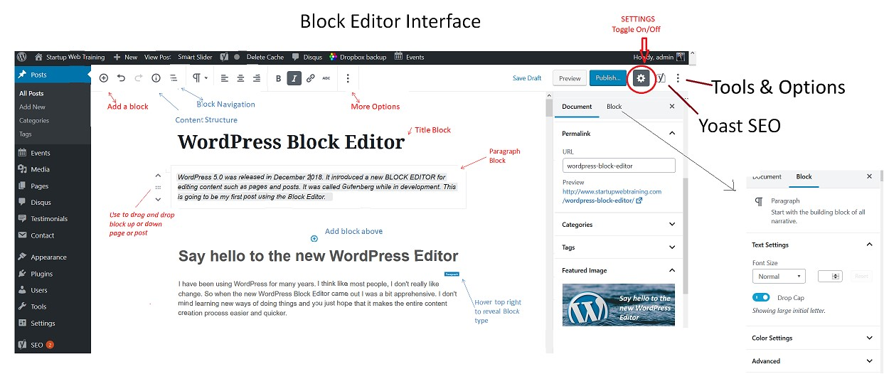 WordPress Block Editor Interface - all icons and buttons explained